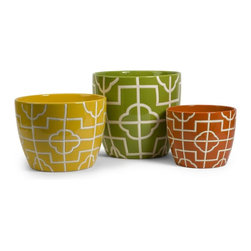 IMAX Worldwide Home - Ellis Graphic Planters - Set of 3 - Set of 3. Material: 100% Ceramic. 6.75-8.5-10.75 in. H x 8.5-10-12 in. D. Weight: 10.4 lbs.Bright colors and bold graphic patterns define the Ellis Graphic Planters. Make a statement with them today!