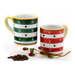 Artistica - Hand Made in Italy - CHRISTMAS: Set of two Mugs 10 oz. RED and GREEN - CHRISTMAS ORNAMENT
