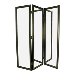 Wayborn - Wayborn Mirror with Frame Full Size Dressing Room Divider in Black - Wayborn - Room Dividers - MS011