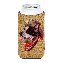 Caroline's Treasures - Australian Cattle Dog  Country Lucky Horseshoe Tall Boy Koozie Hugger - Australian Cattle Dog  Country Lucky Horseshoe Tall Boy Koozie Hugger Fits 22 oz. to 24 oz. cans or pint bottles. Great collapsible koozie for Energy Drinks or large Iced Tea beverages. Great to keep track of your beverage and add a bit of flair to a gathering. Match with one of the insulated coolers or coasters for a nice gift pack. Wash the hugger in your dishwasher or clothes washer. Design will not come off.