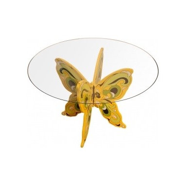 Eco Friendly Furniture and Lighting - United States 1970 Hand painted wood and glass butterfly table. Dynamic form and bright colors add a lightness and fun to any room. Painting clearly inspired by Peter Max.