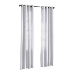 "HLC.ME - HLC.ME Pair of Faux Silk Grommet Curtain Panels, White, 54"" X 95"" - Our luxurious Faux Silk Grommet Panels give your home a new elegant look. Each panel is 54"" in Width and 95"" in Length. For a full look use 2 panels to cover a standard size window (23"" to 36"" wide window). This picture shows two faux silk grommet panels  this package contains two (2) faux silk Grommet Panels to complete the set. Decorate every window with style and sophistication. Allows only some light to naturally flow through the room. The finishing touch for your window is a beautiful Decorative Curtain Rod (not included). All curtain sizes are approximate."
