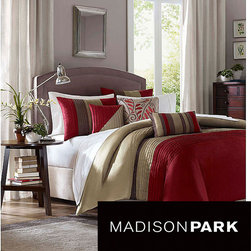 Madison Park - Madison Park Salem 6-piece Duvet Cover Set - Brighten and beautify your bedroom with this contemporary duvet comforter set. With everything you need for a bedding makeover,this six-piece set offers a modern striped print in red,khaki,and taupe that will easily blend in with your current decor.