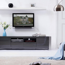 B-Modern Composer Grey High-Gloss TV Stand - The TV stand has two component shelves with easy wiring access for the ultimate functionality. The Composer will create a new perspective on modern entertainment with smooth white high-gloss finish complimented with brushed stainless steel legs.