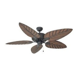 Design House - Martinique Ceiling Fan in Oil Rubbed Bronze - Includes remote control and 4 in. mounted downrods. Five leaf shape chestnut reversible blades. Tri-mount adaptable mounting. Three speed reversible motor. UL damp location listed. Voltage: 120 V. Blade pitch: 10 degree. Airflow at high speed: 5150 CFM. Electricity usage: 55 watt. Airflow efficiency: 94 CFM-W. Made from steel. Motor: 6.02 in. Dia. x 0.59 in. H. Downrod: 0.75 in. Dia.. Overall: 52 in. Dia. x 14.5 in. H (17.5 lbs.). WarrantyThe Tropical Look Of The Martinique Ceiling Fan Is Perfect For 3-Season, Sunroom And Porch Areas.