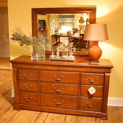 """American Drew - American Drew Laurel Springs Dresser w/ Mirror in Aged Bourbon - The bedroom cases feature spacious drawers with solid wood fronts. The 70"""" tall panel bed has raised panels and heavy moldings, while the sleigh bed has clean, dramatic lines and a simple platform base footboard. An upholstereorage/Spice Racks & Containers,Kitchen & Dining/Kitchen Storage/Spoon Rests/Kitchen & Dining/Kitchen Storage/Utensil Crocks.Kitchen & Dining/Kitchen Storage/Utensil Racks!Kitchen & Dining/Large Appliances2Kitchen & Dining/Large Appliances/Air Conditioners/Kitchen & D - 216-130-042.  Product features: Belongs to Laurel Springs Collection by American Drew; Solid wood fronts; Deep, aged bourbon finish; Rustic maple veneers; 11 Drawers; RSF Drawer Felt Lined; LSF w/ Jewelry Tray. Product includes: Dresser (1); Mirror (1). Dresser w/ Mirror in Aged Bourbon belongs to Laurel Springs Collection by American Drew."""