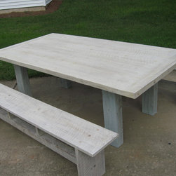 Painted Pine Farm Table - Painted Pine Farm Table & Benches