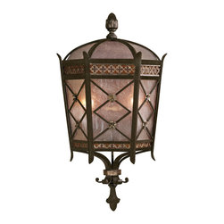 Fine Art Lamps - Chateau Outdoor Outdoor Coupe, 402781ST - Here's some regal brilliance to light up your nights. This wall-mounted outdoor lantern is made of brass with a rich variegated umber and gold finish and features a crisscross pattern with flowers over antiqued, seeded glass. Old-world elegance to make your château shine.