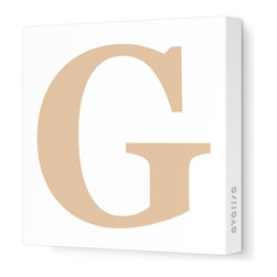 """Avalisa - Letter - Upper Case 'G' Stretched Wall Art, 18"""" x 18"""", Light Brown - Spell it out loud. These uppercase letters on stretched canvas would look wonderful in a nursery touting your little one's name, but don't stop there; they could work most anywhere in the home you'd like to add some playful text to the walls. Mix and match colors for a truly fun feel or stick to one color for a more uniform look."""