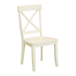 HomeStyles - Dining Chair in White Finish - Set of 2 - Set of 2. X back design. Clear coat finish helping to protect against wear from normal use. Made from Asian hardwood. Made in Thailand. 18.75 in. W x 22.25 in. D x 38.37 in. H. Assembly instructions