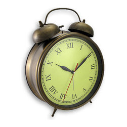 Huge Antique Brass Finish Metal Alarm Clock Wall Or Table - This huge, fully functional metal alarm clock can wake up even the deepest of sleepers. The clock is 9 1/2 inches in diameter, and stands 12 inches tall with the top handle. The top bells are 4 inches in diameter, and emit a loud ringing when the alarm goes off. The clock has a beautiful antiqued brass finish, and can be used as both a table clock and a wall clock. It adds a retro feel to any shelf, desk, or table in your home or office. The clock features quartz movement and runs on 3 AA batteries (not included). It makes a great gift for friends and family.