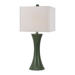 angelo:HOME - angelo:HOME Madison Contemporary / Modern Table Lamp X-LT-7558 - angelo:HOME Madison, designed by Angelo Surmelis for AF Lighting. Ceramic table lamp in green, round corner semi square poly white hardback shade. 26H X 12W. Hand crafted ceramic in a semi gloss glaze finish. Due to hand crafting, no 2 alike.