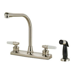 Hardware House - Plumbing - 12-3419 Satin Nickel Kitchen Faucet - Two-Handle Kitchen Faucet with Spray