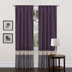 Lush Decor - Mia Grey/Purple 84-inch Curtain Panel Pair - This colorful faux silk window panel transforms and brightens the room. A series of four pleats gives the panel a clean and very finished look and a rod pocket provides quick and easy installation.