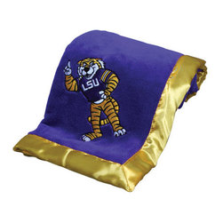 Collegiate Delight - Louisiana State University Blanket - Let your school spirit show with these officially licensed collegiate baby blankets. These embroidered coral fleece blankets with matching satin trim are super soft to the touch and perfect for your future graduates and athletes.