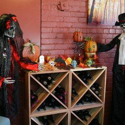 Halloween Wine Racks Theme - Halloween gathering around a wine cube set.