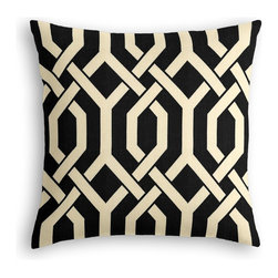 Black Angular Trellis Custom Throw Pillow - The every-style accent pillow: this Simple Throw Pillow works in any space.  Perfectly cut to be extra fluffy, you'll not only love admiring it from afar but snuggling up to it too!  We love it in this