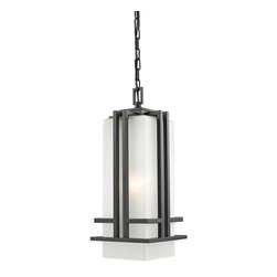Z-Lite - Z-Lite Abbey Outdoor X-ZBRO-BHC055 - The geometric lines of the Abbey family combine well with contemporary home styling as well as homes in the craftsmen style.  This large chain light fixture is made of steel  and finished in black with matte opal glass.