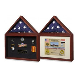 Flags Connections - Large Flag and Certificate Display Case - Glass front with turn button closures on back of both the display and flag case compartments.