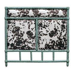 Uttermost - Uttermost Chahna Queen Headboard - Rich Cushioning Under Plush Dark Chocolate And Milky White Velvet With An Aqua Blue Finish On Solid Turned Hardwood. French Cleat Wall Attachment. Bob and Belle Cooper founded The Uttermost Company in 1975 and it is still 100% owned by the Cooper family. The Uttermost mission is simple and timeless: to make great home accessories at reasonable prices. Inspired by award-winning designers custom finishes innovative product engineering and advanced packaging reinforcement Uttermost continues to deliver on this mission.  For over 30 years Uttermost has enjoyed steady growth with over 200 employees working in its Rocky Mount Virginia factories totaling 600000 square feet. It also has a factory in China and a state-of-the-art West Coast distribution center for increased capacity and faster shipping to West Coast retailers and customers.  Uttermost is proud to support many of the world's most prestigious home-furnishing customers with its products and services. Uttermost believes its success is largely based on its commitment to three key principles: proving superior customer service maximizing product value through great design and sharp pricing and treating its employees sales representatives and designers as partners in business. Features include Rich Cushioning Under Plush Dark Chocolate & Milky White Velvet With An Aqua Blue Finish On Solid Turned Hardwood French Cleat Wall Attachment Uttermost Accent Furniture Combines Premium Quality Materials With Unique High-Style Design Each Product Is Designed Manufactured & Packaged With Shipping In Mind Designer: Matthew Williams. Specifications Material: Rubber Wood With Mdf Carb P 2 Foam & Fabric.