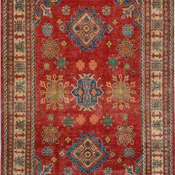 "ALRUG - Handmade Rust Oriental Kazak Rug 5' 8"" x 8' 6"" (ft) - This Afghan Kazak design rug is hand-knotted with Wool on Cotton."