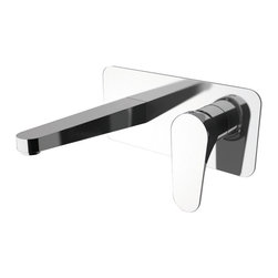 Wall Mounted Chrome Bathroom Sink Faucet - This wall mounted bathroom sink faucet is made of brass in a polished chrome finish. Single handle faucet made and designed in Italy for premium quality. Spout length: 7 inch.