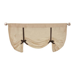 Lush Decor - Lydia Beige Valance - Includes: 1 Valance. Fabric Content:100% Polyester. Color: Beige. Care Instructions: Dry clean. 42 in. W x 28 in. DPretty as can be, the beige faux silk and black accent works so well in any room. The tie-up gives this valance an added elegance and timeless appeal. There is a rod pocket for easy installation.