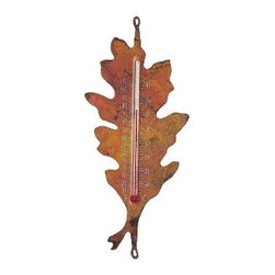 Ancient Graffiti - Oak Leaf Nature Thermometer - Oak Leaf Nature Thermometer. Our popular line of flamed copper indoor/outdoor thermometers are always a hit. Each thermometer has a solid copper body supported by a half-round steel bracket. Mounts easily with one provided screw and clip. Coated with a UV