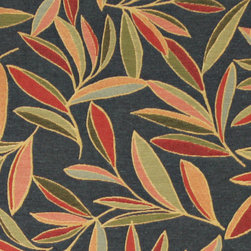 Red, Green and Blue, Foliage Leaves Contemporary Upholstery Fabric By The Yard - This contemporary upholstery jacquard fabric is great for all indoor uses. This material is uniquely designed and durable. If you want your furniture to be vibrant, this is the perfect fabric!