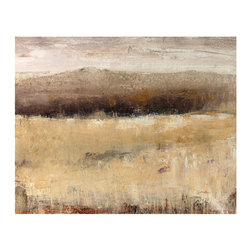 Buff Field II Unframed Giclee with Knife Gel Finish - The whisper of grasses greets your imagination when you look at Buff Field II, a giclee print of a stylized and poetic landscape painting. Depicting an expanse of earth with a swath of grey hills standing watch on the horizon line, this neutrally-colored scene brings a quiet sense of subtlety to your home, gentling your light and absorbing your attention with its suggestion of distance.