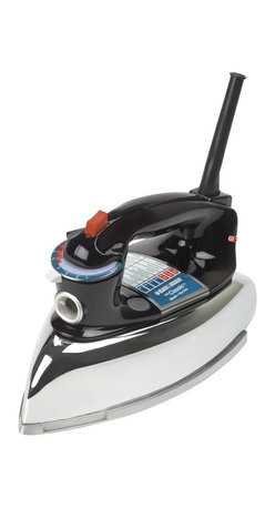 Applica - Black and Decker Classic Iron - Power indicator light. Thumb-activated steam-surge button. Anti-drip system prevents water spotting at low temperatures. Dry-iron option. Pivoting cord. Aluminum soleplate for quickly smoothes out wrinkles. Stable heel rest. Vertically on its heel rest, it will shut off after eight minutes. 3-way auto safety shut-off after 30 seconds. Warranty: One year limited. 10 in. L x 5.5 in. W x 6.2 in. HCombining a simple, classic design with an array of modern conveniences, this powerful iron quickly and easily smoothes out wrinkles. The unit's fabric-select dial and convenient fabric guide make it easy to choose the right amount of heat needed for the job, while its aluminum soleplate creates crisp creases and comes with a pointed tip that works well for getting into pleats, between buttons and along seams.