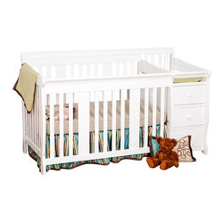 Stork Craft - Stork Craft 4-in1 Portofino Crib & Changer Combo in White - Stork Craft - Cribs - 04586471 - The beautiful solid construction of the Portofino 4 in 1 Fixed Side Convertible Crib Changer by Stork Craft with its magical sleigh design makes this a royal centerpiece for your nursery. All four sides are stationary and include an adjustable three position mattress support base to add to the security and stability of this versatile crib.   It has a well built construction made of solid wood and wood products offered in a selection of non toxic durable finishes. Designed for multiple stages of life; it converts from a full size crib to a toddler bed to a daybed to a full-size bed (bed rails not included).  The attached changer is designed with safety in mind with an extra deep surface for added security and stability while changing your baby. Complete your nursery look by adding an assortment of matching accessories: a chest dresser or glider and ottoman by Stork Craft.   Set-up this extravagant piece effortlessly with it's easy to follow directions into a crib that's perfect for your babies' sweet delicate slumber. Features: