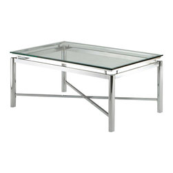Steve Silver Company - Steve Silver Company Nova Glass Top Cocktail Table - Steve Silver Company - Coffee Tables - NV100CXKIT. Bring perfection and brilliance to your home with the Nova Tempered Glass - Top Coffee Table. A glass top and chrome x pattern base will make this collection your rooms centerpiece for years to come.