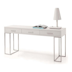 J&M Furniture - Sheldon Modern White Lacquer Desk - The contrast of the chrome legs to the white adds the aesthetics to a timeless design of this Sheldon Modern White Lacquer Desk. Desk is designed with plenty of storage in mind and features 3 drawers for adequate storage.    Features: