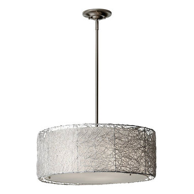 Wired Suspension by Feiss - Wired 3 light suspension features a silver organza fabric shade and a brushed steel finish. Available in a 8 and 19.63 inch wide option as well as a pendant and wall sconce version. Three 60 watt, 120 volt, A21 medium base incandescent lamps not included. General light distribution. c/UL listed for dry locations. Canopy measures 1.38W x 5.25H. Includes 180 inch wire. Shade features 19.63 inch diameter x 8.25 inch height.