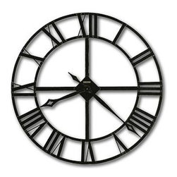 "HOWARD MILLER - Howard Miller Lacy 32"" Wrought Iron Wall Clock - This large clock features:"