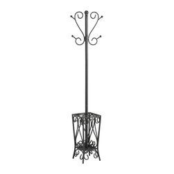 Holly & Martin - Holly & Martin Brighton Coat Rack and Umbrell - Adding a coat rack to your home is the perfect solution for storing guests' coats. Everyone finds themselves looking for somewhere to store their coats. This scrolled steel stand makes a beautiful and useful solution. This ornate coat rack and umbrella stand will complement decor. The tree incorporates upper and lower hooks for both hats and coats. * Stylish and Functional. Created With Skilled Craftsmanship. Storage Solution. 13 in. W x 13in. L x69 in. H