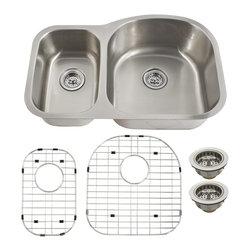 Schon - Schon Luxury 16 Gauge 30/70 Double Bowl Undermount Kitchen Sink (SC3070RV16) - Schon SC3070RV16 Luxury 16 Gauge 30/70 Double Bowl Undermount Kitchen Sink, Stainless Steel
