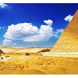Magic Murals - Giza Pyramids Panorama Wall Mural -- Self-Adhesive Wallpaper by MagicMurals - A vast panoramic view of the Pyramids at Giza along the Nile in Egypt.  Golden sand, blue skies and white clouds serve as the canvas for this iconic World Heritage Site.