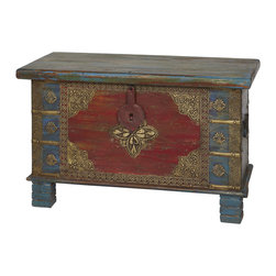 Everybody's Ayurveda - Wooden Hand Painted Two Tone Trunk In Mango Wood - Wooden Two-Tone Trunk. Hand Painted Mango Wood. Made in India. Hand painted with a distressed finish, the red and blue hues are complimented with brass accents and a medallion centerpiece. Perfect for storing bedding, photo albums and more!Package Includes:Wooden Trunk OnlyDimensions:Width: 31.5 inch