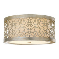 Murray Feiss Lighting - Murray Feiss Lighting-FM339SLP-Arabesque - Two Light Flush Mount - Feiss Lighting is not just about dramatic and dazzling Chandeliers and pendants; it has everything to give that warm and bright look to your dining room, living room, family room or bedrooms besides kitchen and bath. Its impeccable craftsmanship has given many a home exclusive finishes from both the interior and exterior and has a selection to suit every home decor whether contemporary or classic and different color pallets as well. It also houses state of the art portable line which includes table, floor, and swing arm lamps, along with torchieres. Feiss also has in-house designers, engineers, color forecasters, and quality control experts to make sure that you get the top quality service and land up with something that you are totally satisfied with. All this and more, with a complete balance between the remarkable quality standards and affordable price range.