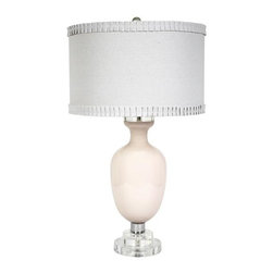 Belle & June - Traditional Lamp-Pink - The Traditional lamp in pink opaque has a sold white shade with a sweet ruffle trim on both ends. This lamp is a beautiful addition to your little girls bedroom or nursery.