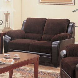 Coaster - Monika Loveseat, Chocolate - Modernize outdated decor with the simple, stylish elegance of the Monika sofa collection. With a versatile neutral color like chocolate, this plush piece enhances any home with casual charm. High-density foam cushions offer unbelievably cozy lounging.