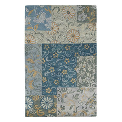 Kaleen - Kaleen Calais Autumn Leaves Rug - All cool blues accented with warm fall tones, this contemporary rug has the cozy charm of a classic patchwork quilt. Fresh and floral, soft and stylish, it makes decorating your space a walk in the park.