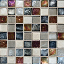 Oceanside Glass - Tribute Glass Mosaic, Allure Blend, 1 Sq Ft - Tribute is a handcrafted, rustic glass tile that is available in four colors in size 3x6 with 1x1 and 1x2 mosaics.  The mosaics are made in twelve different colors that are a blend of shimmering and frosted hues.  Two styles of liners in all four colors are also available. Born in fire these mosaics are enduring and hypnotic.