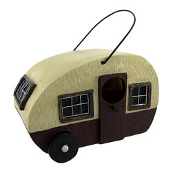 Zeckos - Camper Birdhouse for Small Birds - Do you have a beautiful garden that needs a little life put into it? Birdhouses are a great way to enhance your garden because they attract nesting birds. This birdhouse is cleverly disguised as a camper and features a bird entrance hole on the door of the camper. This resin cast birdhouse is perfect for bird nesting because it is made of synthetic materials and provides the nest more warmth during the incubation period. This birdhouse features a metal handle for easy hanging and a plug on the bottom for easy cleaning after your feathered tenants have flown the coop. This birdhouse is perfectly suited for small birds and measures 7 inches long, 4 inches wide, and 5 inches tall.