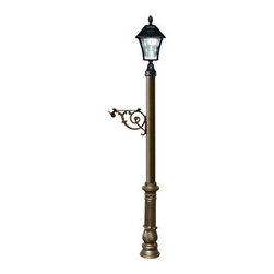 Qualarc, Inc. - Lewiston Post Only (Bronze) with Support Brace, Ornate Base, Black Solar Lamp - Lewiston Post comes with support brace and ornate base in Bronze color. Post, support brace and fluted base are made of rust-free cast aluminum with a weather resistant finish. The Bayview Solar Lamp mounts to the top of the post and features a classic gas-light design with real beveled glass panes. With our super-bright LED's and patented cone reflector technology, guests will easily spot your address at night. Using efficient solar-powered technology, the Bayview charges by day and automatically turns on at night. No wiring is needed. And with a weather-resistant powder-coated cast aluminum frame, no maintenance is required. (Solar lamp availbe in color black only)