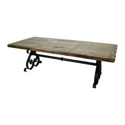 Montecristo Iron Based Dining Table - This fantastic Montecristo Iron Based Dining Table is constructed of solid pine and iron. No veneers are used, only solid planks of wood with a polyurethane type finish topped with a soft hand-rubbed wax. This finish makes this piece a perfect accent to any Spanish Colonial, Hacienda Style or Tuscan decor.  Notice the hand carved, hand forged iron accents. Beautiful! Limited quantities, order now!Approximate