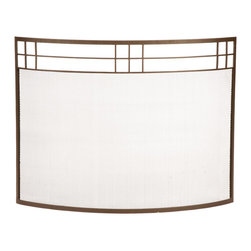 Achla - Art Deco Wrought Iron Screen in Roman Bronze - A fire screen with just enough curve to hold itself up.  This screen has an Art Deco feel with its geometric design across the top.  Wrought iron frame is given a Roman bronze finish.  Tightly woven screen keeps sparks in the fireplace. * Wrought iron constructionRoman Bronze finish39 in. W x 29 in. H