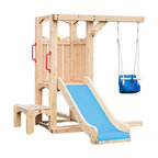 """CedarWorks - CedarWorks Frolic 4 Swingset - My toddler loves to swing and slide, they are just not ready for the big kid stuff. Well look no further than the first stage in the """"growing together"""" Frolic line samples. Start with a toddler-friendly slide, booster step and kid swing and have the perfect foundation to grow the set as your child's needs change and develop."""
